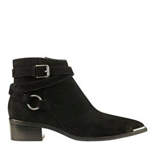 MARC FISHER Ankle Boots Suede Buckle Booties Black